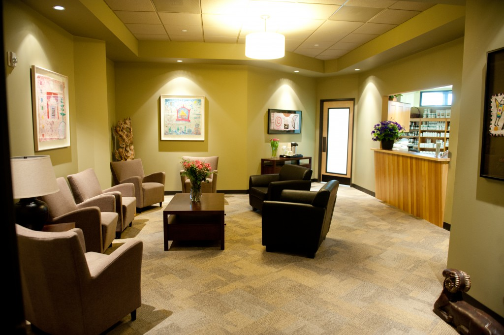 Reception area of Oregon Regenerative Medicine in Lake Oswego, Oregon