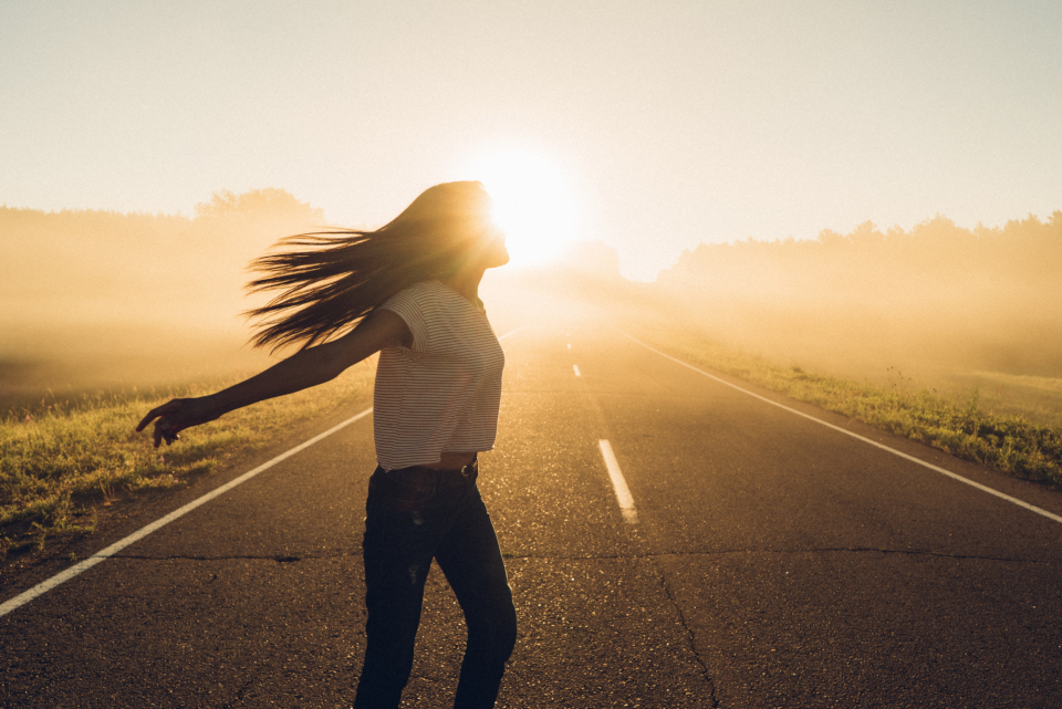 sun exposure, wind in hair, middle of road